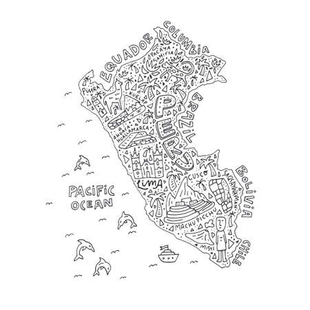Hand drawn Peru map with the main symbols and the geographic names lettering. Vector illustration.