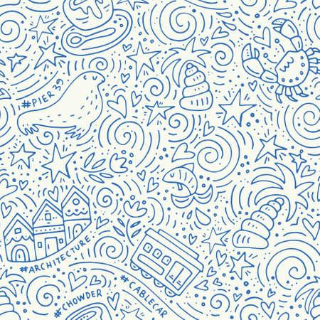 Modèle sans couture avec les symboles de San Francisco. Texture vecteur - série USA.