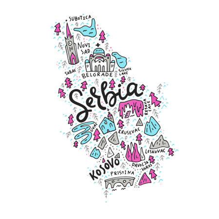 Vector illustration of the map of Serbia made with the captions and landmarks Illustration