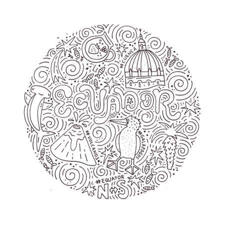 Hand drawn poster of Ecuador. Vector illustration. Illustration