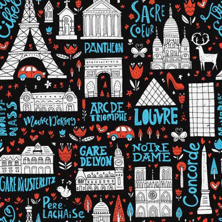 Unique seamless pattern with symbols of Paris. Ilustrace