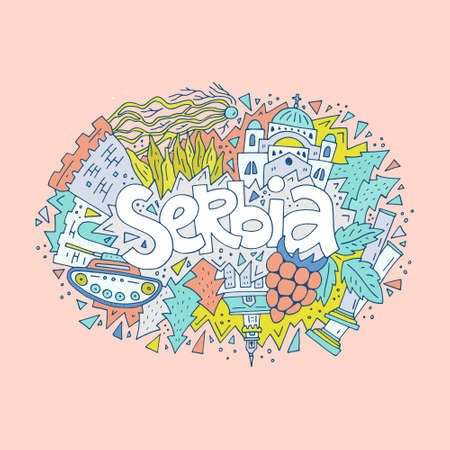 Hand drawn concept of Serbia with all main symbols of the country. Illustration