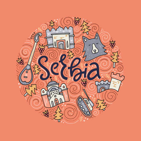 Hand drawn concept with different symbols of Serbia Imagens - 79226832