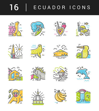 Different symbols of an Ecuador made in line style. Vector icons. Иллюстрация