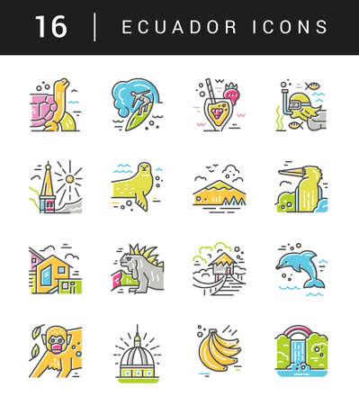 Different symbols of an Ecuador made in line style. Vector icons. Ilustração