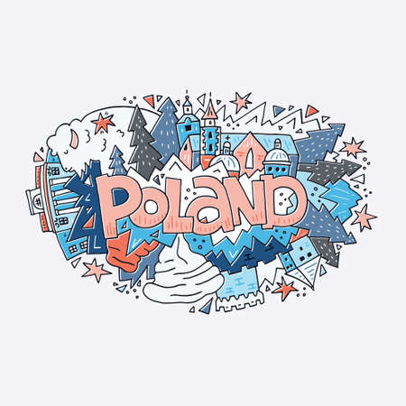 Poland vector illustration. Hand drawn lettering and symbols of the country. Illustration