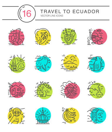 Different symbols of an Ecuador made in line style. Vector icons. Ilustração