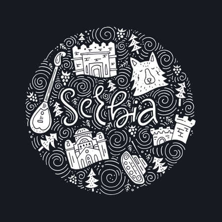 Hand drawn concept with different symbols of Serbia