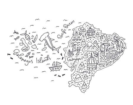 Cartoon map of Ecuador and Galapagos Islands - hand drawn illustration with all main symbols. Vector art. Illustration