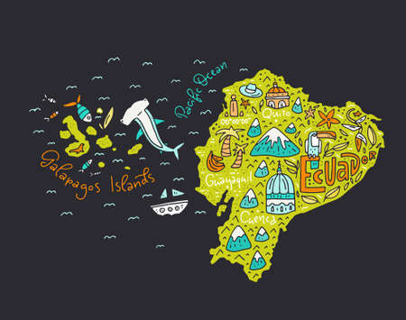 Cartoon map of Ecuador and Galapagos Islands - hand drawn illustration with all main symbols. Vector art. Ilustrace