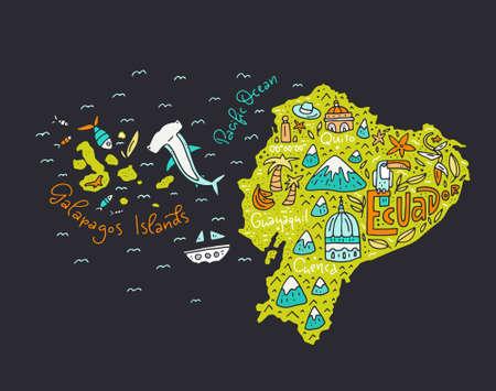 Cartoon map of Ecuador and Galapagos Islands - hand drawn illustration with all main symbols. Vector art. Ilustrace