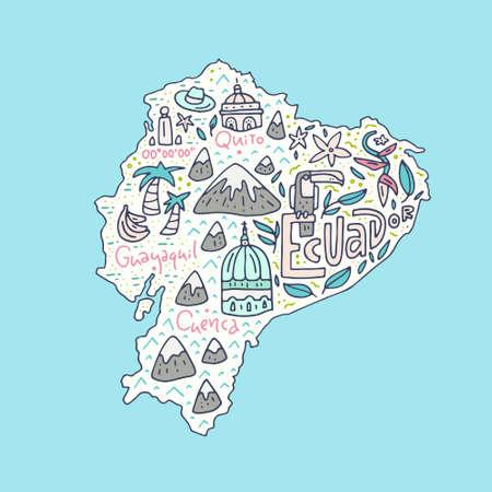 Cartoon kaart van Ecuador - hand getekende illustratie met alle hoofd symbolen. Vector kunst. Stock Illustratie