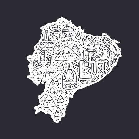 漫画のエクアドルの地図 - すべての主要なシンボルで描画した図形を手します。ベクター アートです。 写真素材 - 79258803