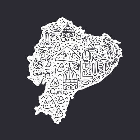 Cartoon map of Ecuador - hand drawn illustration with all main symbols. Vector art.