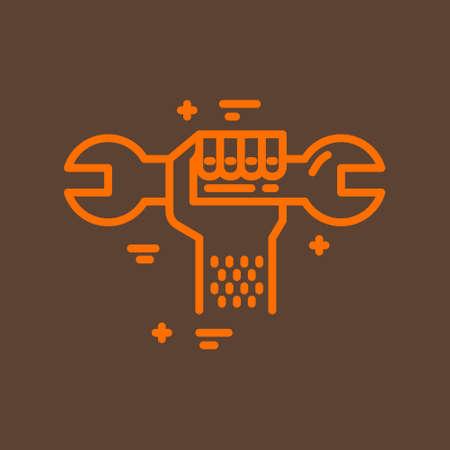 수리 회사 또는 손 잡고 렌치와 배관 서비스 제공 업체를위한 현대 라인 스타일 로고. 격리 된 디자인 요소 - 귀하의 회사 이름에 대 한 텍스트를 쉽게
