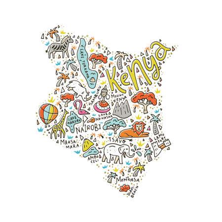 Cartoon kaart van Kenia met dieren, nationale parken en de belangrijkste toeristische attracties.