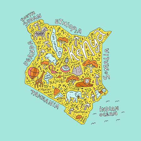 nairobi: The vector illustration of a Kenya country map with the symbols and  lettering.