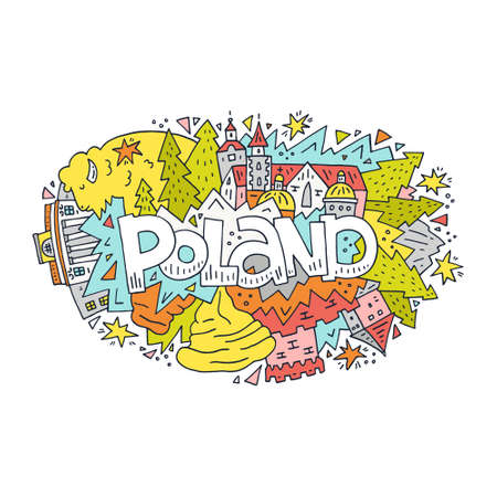 Poland vector illustration with symbols of the country.