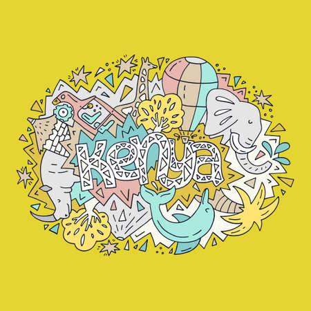 벡터 일러스트 레이 션 케냐 단어와 밝은 동물 및 개체를 상징하는 개체입니다. 일러스트