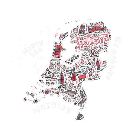 Vector illustratie van Holland Map. Stock Illustratie