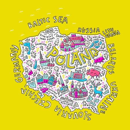 ポーランドの地図で漫画。主な記号と文字をすべて描き下ろしイラストを手します。