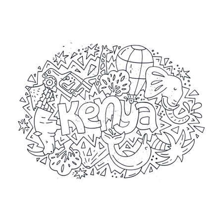 Illustration of Kenya for adult or childrens coloring book. Black and white hand drawn concept. Illustration