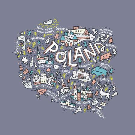異なるポーランドの地理の地図は、レタリング、シンボルを名します。ベクトルの図。