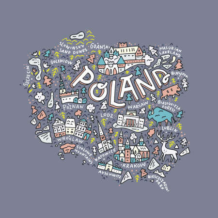 The map of the Poland with the different geographic names lettering and the symbols. Vector illustration. Stock fotó - 81003706