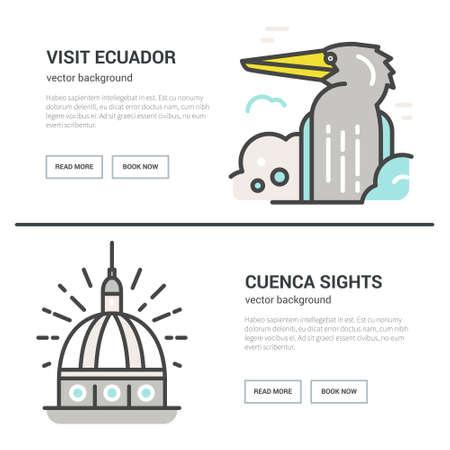 Travel to Ecuador poster - vector flyer design. Imagens - 81063540