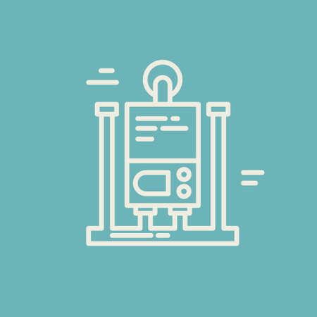 수리 회사 또는 배관 서비스 제공 업체를위한 최신 회선 스타일 로고. 격리 된 디자인 요소 - 귀하의 회사 이름에 대 한 텍스트를 쉽게 변경할 수 있습