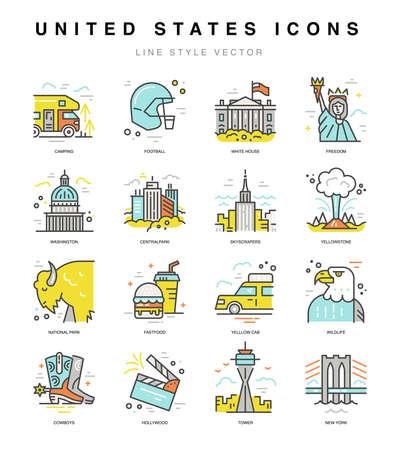 Icônes américaines. Voyagez aux symboles des États-Unis dans un vecteur de style linéaire.