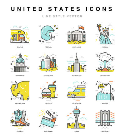 USA icons. Travel to United States symbols in line style vector. Illustration