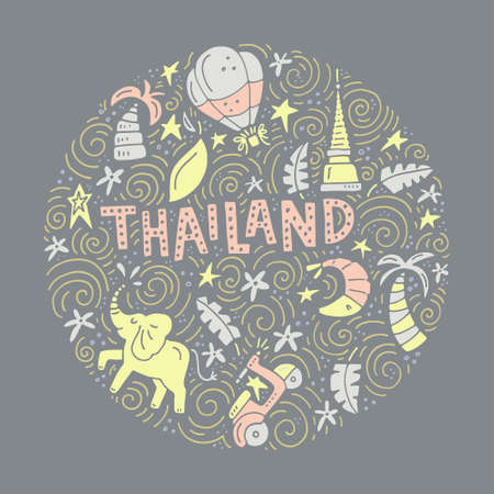 Drawing of Thai symbols with a sign made as custom lettering. Unique illustration of vector design of Thailand.  向量圖像