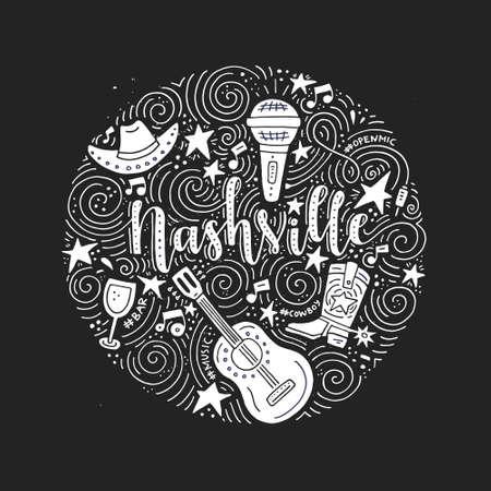 Le cercle avec la ville de Nashville - American, capitale de la musique country des USA vector Illustration. Banque d'images - 81773747