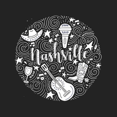 The circle with the Nashville - American city, country music capital of USA vector Illustration.