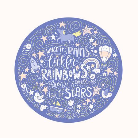 手の描かれたベクター引用 - 星の暗い表情だと虹の外観を雨が降るとき。
