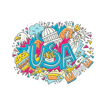 Reis naar het concept van de VS Vectorillustratie met symbolen van de Verenigde Staten van Amerika.