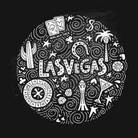 Vegas symbols in circle form vector illustration. Çizim