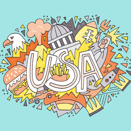 Hand drawn illustration with symbols of United States of America. Travel to USA concept. Vector art Illustration