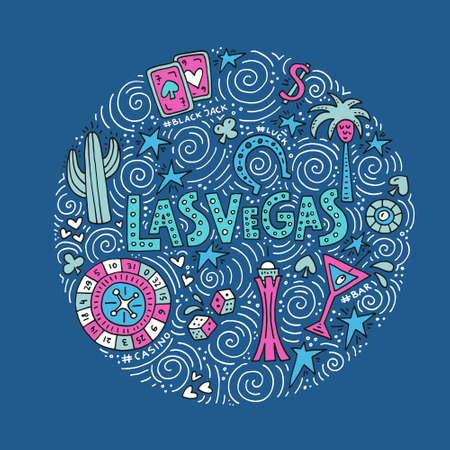 Hand drawn concept with symbols of Las Vegas - casino, luck and others vector illustration.