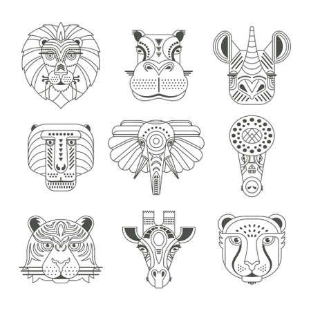 Animal portretten gemaakt in unieke geometrische platte stijl. Vector hoofden van schattige dieren.