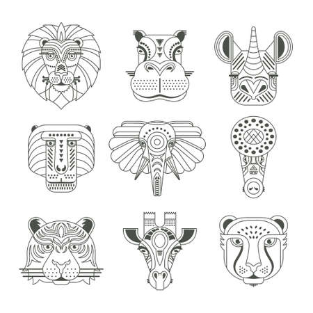 Tierporträts in einzigartiger geometrischer flacher Art. Vektor Köpfe von süßen Tieren. Vektorgrafik