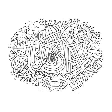 Hand drawn illustration with symbols of United States of America. Travel to USA concept vector art