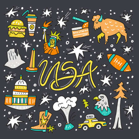 Hand drawn symbols of United States. USA clipart made in vector.