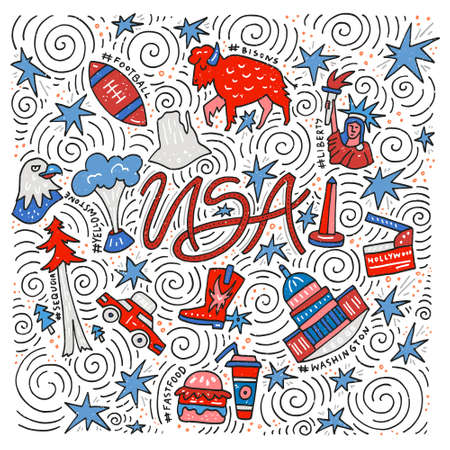 The hand drawn vector illustration of the USA symbols in a square shape.