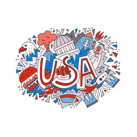Hand Drawn Illustration With Symbols Of United States Of America