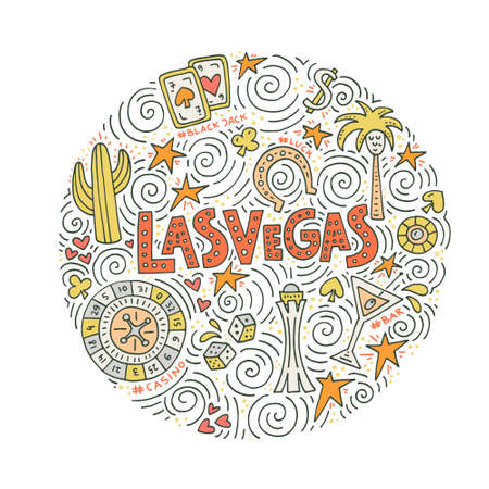 Hand drawn vector illustration of a Las Vegas symbols