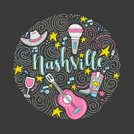 The circle with the Nashville - American city, country music capital of USA. Vector Illustration.