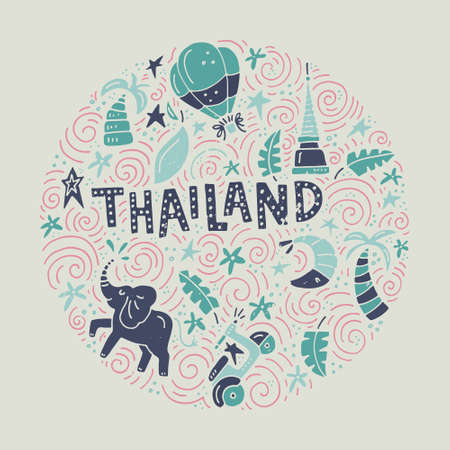 Drawing of Thai symbols with a sign made as custom lettering. Unique illustration. Vector design of Thailand.
