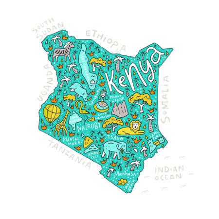 ケニア国の地図記号と文字のベクター イラスト。  イラスト・ベクター素材